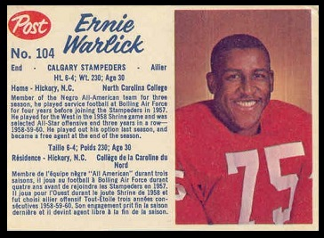 Ernie Warlick 1962 Post CFL football card