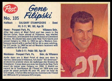 Gene Filipski 1962 Post CFL football card