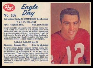 Eagle Day 1962 Post CFL football card