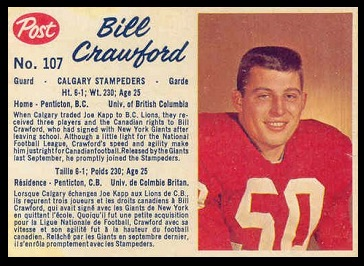 Bill Crawford 1962 Post CFL football card