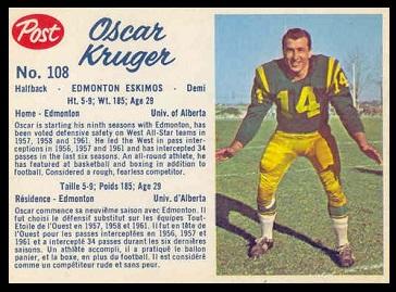 Oscar Kruger 1962 Post CFL football card