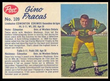 Gino Fracas 1962 Post CFL football card