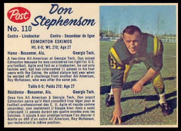Don Stephenson 1962 Post CFL football card