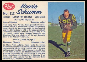 Howie Schumm 1962 Post CFL football card