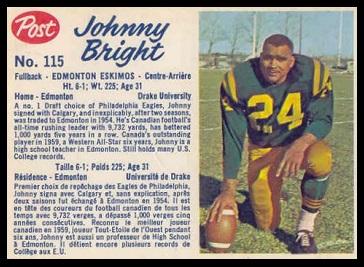 John Bright 1962 Post CFL football card
