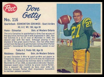 Don Getty 1962 Post CFL football card