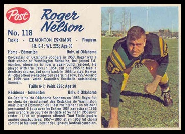 Roger Nelson 1962 Post CFL football card