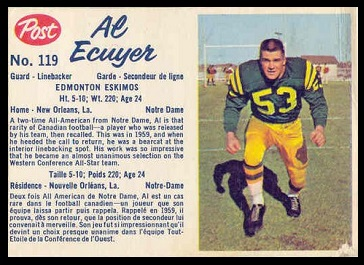 Al Ecuyer 1962 Post CFL football card