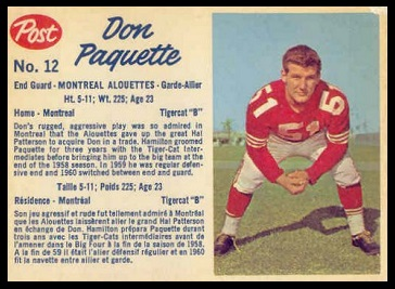 Don Paquette 1962 Post CFL football card