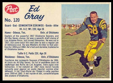 Ed Gray 1962 Post CFL football card