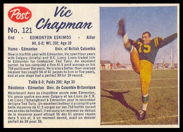 Vic Chapman 1962 Post CFL football card