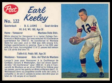 Earl Keeley 1962 Post CFL football card