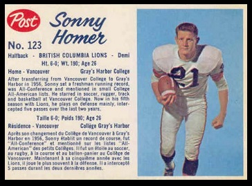 Sonny Homer 1962 Post CFL football card