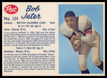Bob Jeter 1962 Post CFL football card