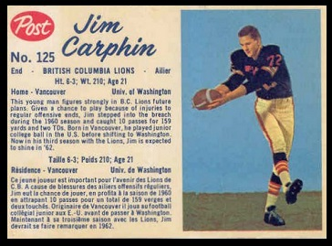 Jim Carphin 1962 Post CFL football card