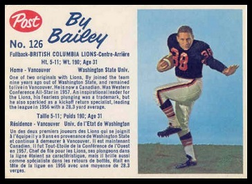 By Bailey 1962 Post CFL football card