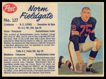 Norm Fieldgate 1962 Post CFL football card
