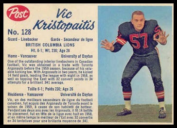 Vic Kristopaitis 1962 Post CFL football card