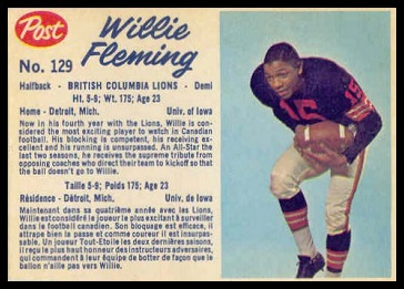 Willie Fleming 1962 Post CFL football card