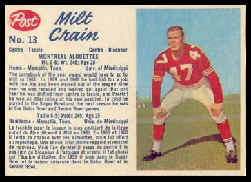 Milt Crain 1962 Post CFL football card