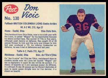 Don Vicic 1962 Post CFL football card