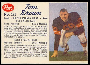 Tom Brown 1962 Post CFL football card