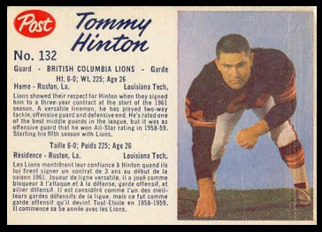 Tom Hinton 1962 Post CFL football card