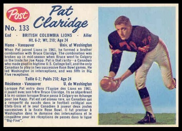 Pat Claridge 1962 Post CFL football card