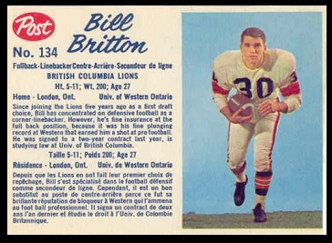 Bill Britton 1962 Post CFL football card