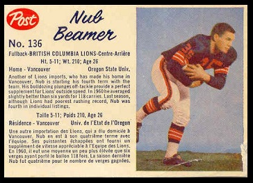 Nub Beamer 1962 Post CFL football card