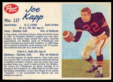 Joe Kapp 1962 Post CFL football card