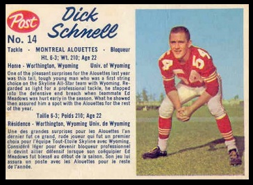 Dick Schnell 1962 Post CFL football card