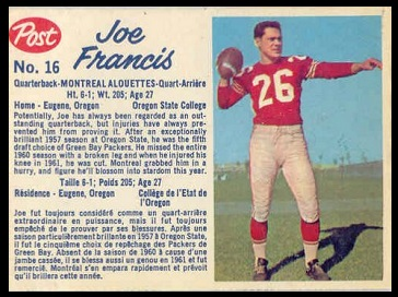 Joe Francis 1962 Post CFL football card