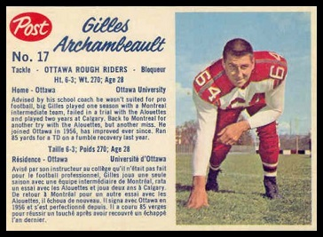Gilles Archambault 1962 Post CFL football card