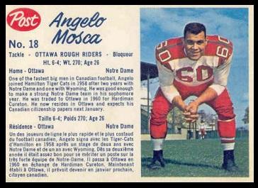 Angelo Mosca 1962 Post CFL football card
