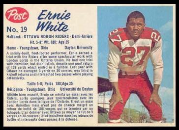Ernie White 1962 Post CFL football card