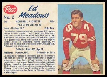 Ed Meadows 1962 Post CFL football card