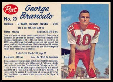 George Brancato 1962 Post CFL football card