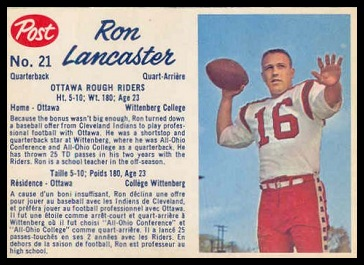 Ron Lancaster 1962 Post CFL football card