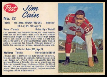 Jim Cain 1962 Post CFL football card