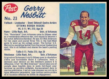 Gerry Nesbitt 1962 Post CFL football card