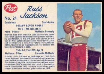 Russ Jackson 1962 Post CFL football card