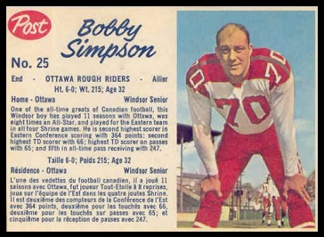 Bob Simpson 1962 Post CFL football card