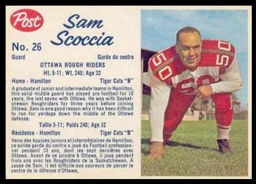 Sam Scoccia 1962 Post CFL football card