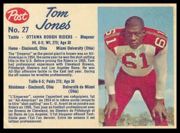 Tom Jones 1962 Post CFL football card