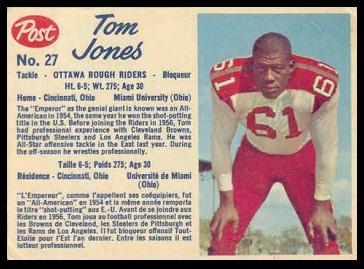 Tom Jones 1962 Post CFL football card
