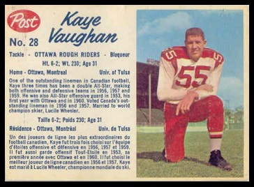 Kaye Vaughan 1962 Post CFL football card