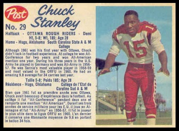 Chuck Stanley 1962 Post CFL football card