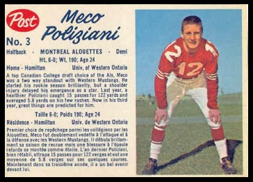 Meco Poliziani 1962 Post CFL football card