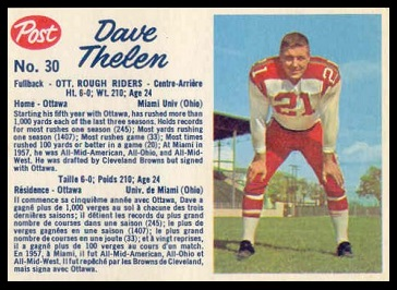 Dave Thelen 1962 Post CFL football card